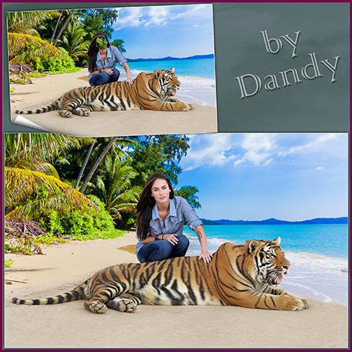 Женские шаблоны для фотошопа: На берегу с тигром