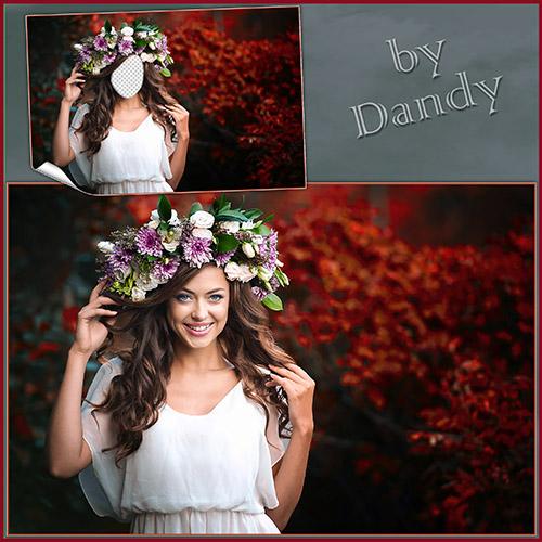 Женские шаблоны для фотошопа: В цветочном венке