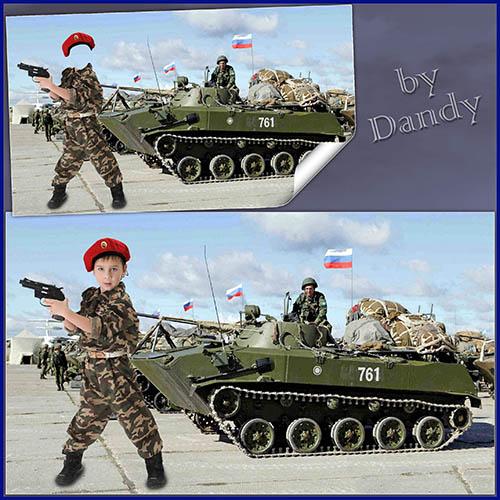 Детские шаблоны для фотошопа: Маленький спецназовец