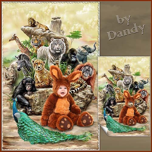 Детские шаблоны для фотошопа: Зайка с друзьями
