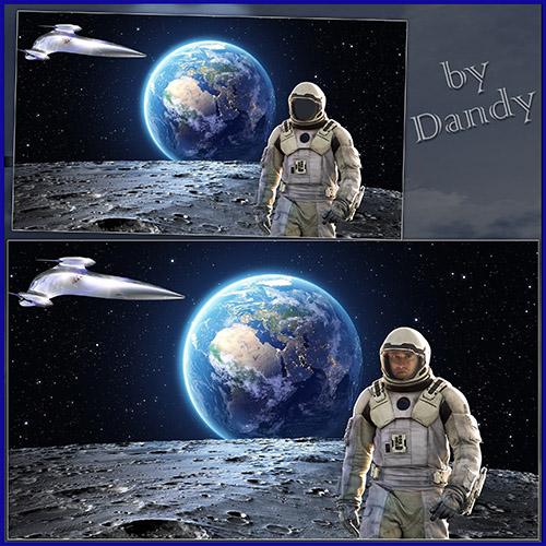 Мужские рамки для фотошопа: Пешком по луне
