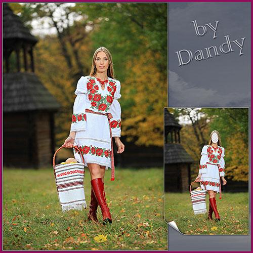 Женские шаблоны для фотошопа: Национальный костюм