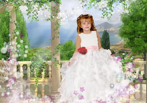 Детские шаблоны для фотошопа: В белом платье