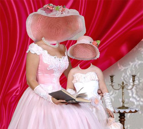 Женские шаблоны для фотошопа: Мама и дочка