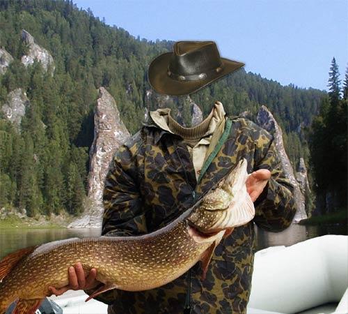 Мужские шаблоны для фотошопа: Рыбалка на щуку