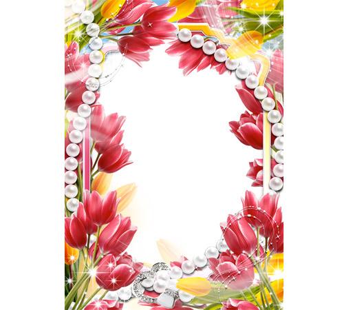 Рамки с цветами для фотошопа: Тюльпаны и жемчуг