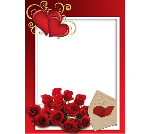 Рамки  - сердечки для фотошопа: Письмо любимой