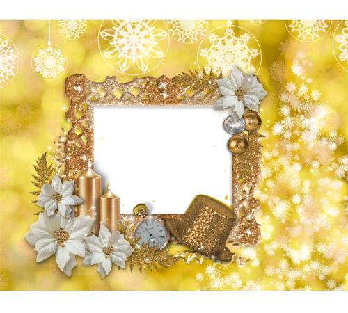 Праздничные рамки для фотошопа: Золотая рамка