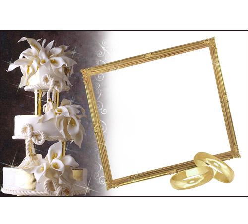 Праздничные рамки для фотошопа: Свадебный торт