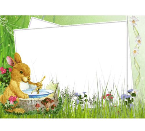 Детские рамки для фотошопа: Зайчик за обедом