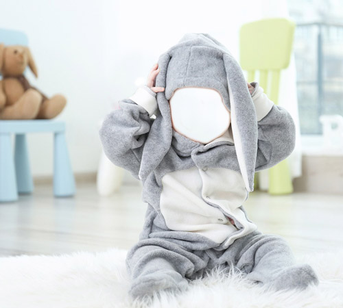Детские шаблоны для фотошопа: Серый зайчик