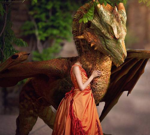 Женские шаблоны для фотошопа: Мой любимый дракон