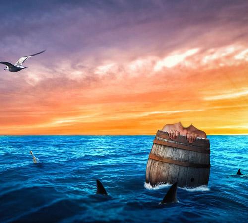 Приколы фотошопа для мужчин: Далеко заплыл