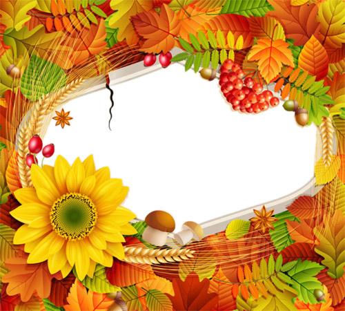 Рамки с цветами для фотошопа: Осень щедрая пора