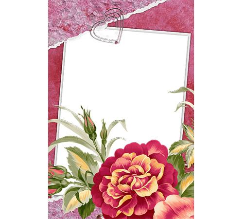 Рамки с цветами для фотошопа: Рисованная георгина