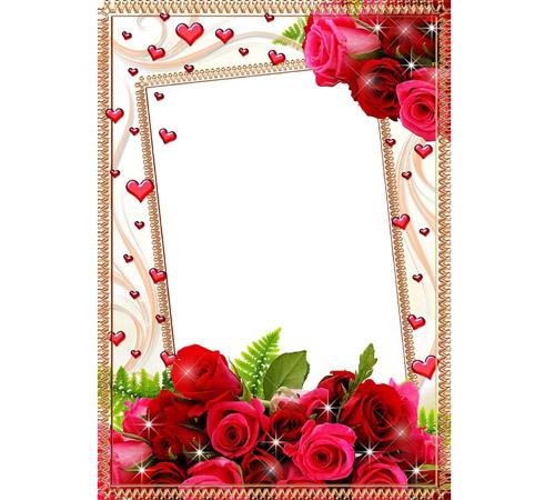Рамки  - сердечки для фотошопа: Розы и сердечки