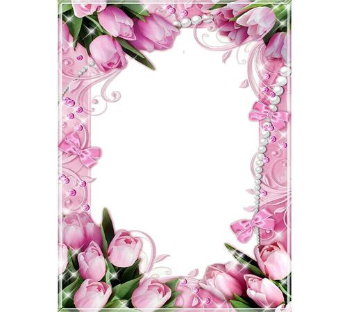 Рамки с цветами для фотошопа: Розовые тюльпаны