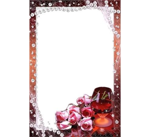 Рамки с цветами для фотошопа: Розы и бокал