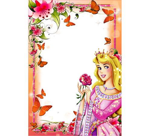 Рамки с героями мультфильмов: Принцесса с цветком