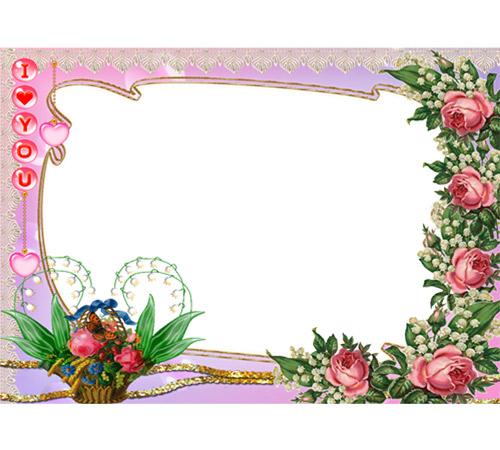 Рамки с цветами для фотошопа: Розы и ландыши
