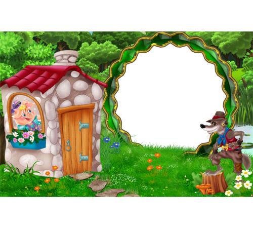 Рамки с героями мультфильмов: Волк и поросята