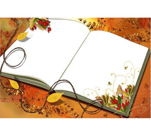 Рамки с цветами для фотошопа: Книга осени
