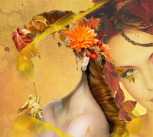 Женские шаблоны для фотошопа: Девушка - осень