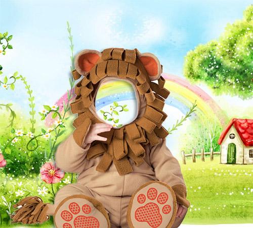 Детские шаблоны для фотошопа: Львенок на полянке