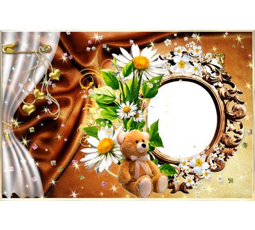 Рамки с цветами для фотошопа: Букет ромашек и мишка