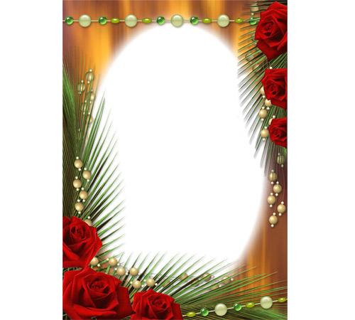 Рамки с цветами для фотошопа: Розы и пальмовые листья