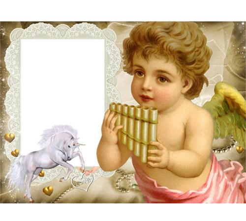 Женские рамки для фотошопа: Ангел с флейтой