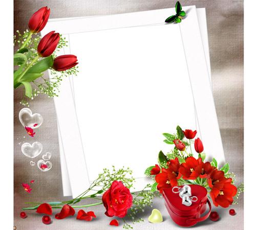 Рамки  - сердечки для фотошопа: Розы и тюльпаны