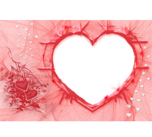 Рамки  - сердечки для фотошопа: Сердце и вуаль
