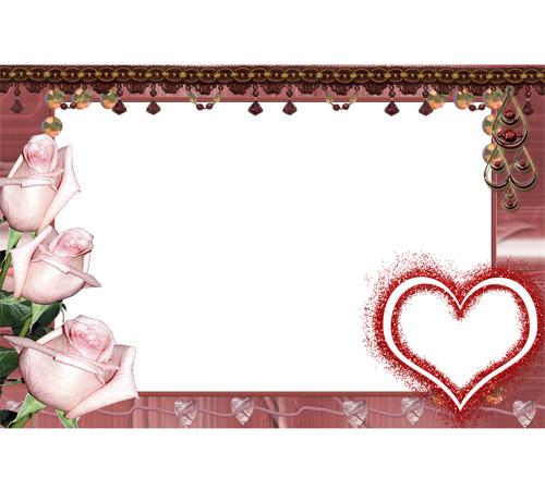 Рамки  - сердечки для фотошопа: Три розы и сердечко