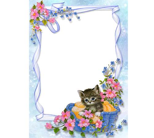 Женские рамки для фотошопа: Милый котенок