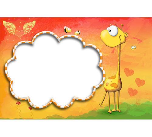 Детские рамки для фотошопа: Жираф и пчелка