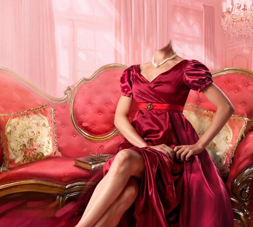 Женские шаблоны для фотошопа: В красном платье