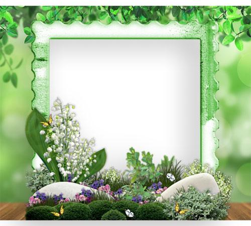 Рамки с цветами для фотошопа: Декоративная поляна