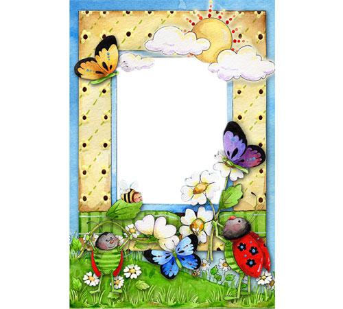 Рамки с цветами для фотошопа: Лесная полянка