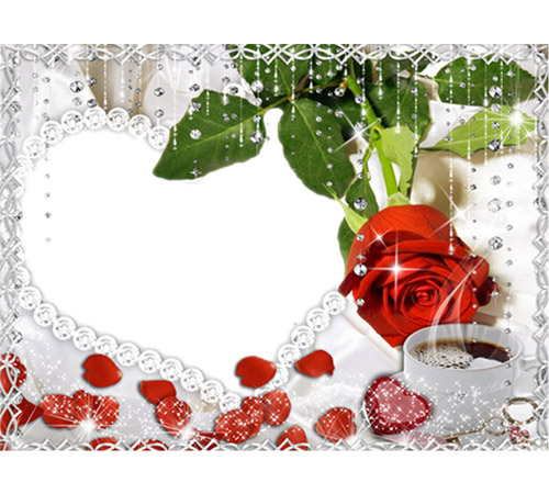 Рамки с цветами для фотошопа: Роза и кофе