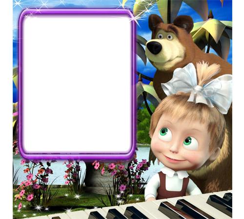 Детские рамки для фотошопа: Маша за пианино