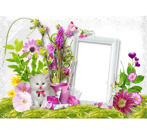 Женские рамки для фотошопа: Котик в цветах
