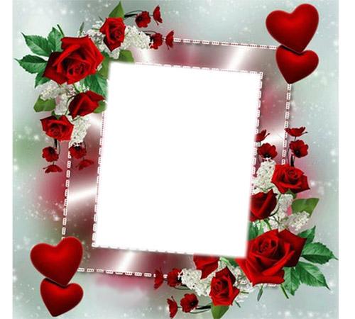 Рамки  - сердечки для фотошопа: Розы для любимой