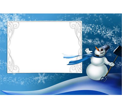 Детские рамки для фотошопа: Снеговик