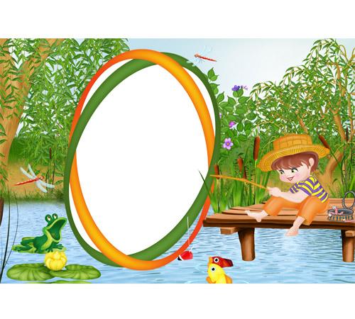 Детские рамки для фотошопа: На рыбалке