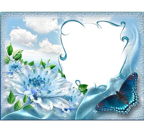 Рамки с цветами для фотошопа: Небесные всплески