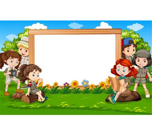 Детские рамки для фотошопа: На лесной полянке