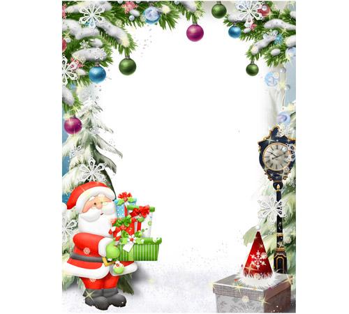 Праздничные рамки для фотошопа: Подарки Деда Мороза