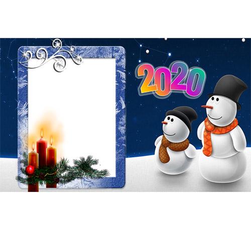 Мужские рамки для фотошопа: Снеговики 2021