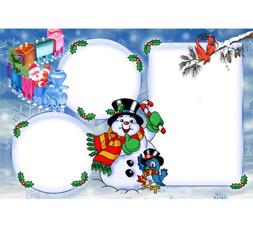 Детские рамки для фотошопа: Веселый снеговик